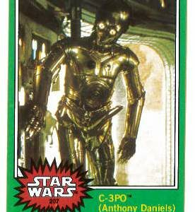 STAR WARS TOPPS 1977 SERIES 4 TRADING CARD SINGLE #207: C-3PO Iconic Golden Rod Reprint card (9.0+ Mint)