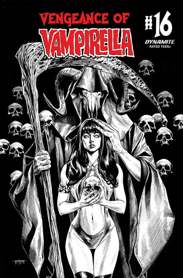 VENGEANCE OF VAMPIRELLA (2019 SERIES) #16: Michael Santamaria B&W cover