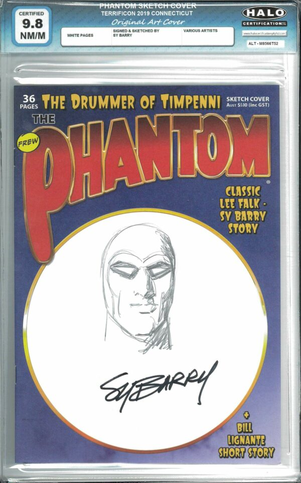 PHANTOM SKETCH COVER #1: Signed and Sketch by Sy Barry – COA – Halo Graded 9.8 (NM/M)