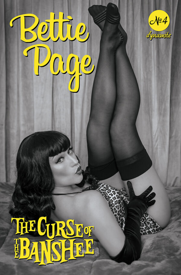 BETTIE PAGE & THE CURSE OF THE BANSHEE #4: Rachel Hollon B&W Cosplay cover G